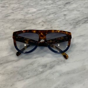 Celine Shadow Havana Blue Acetate Sunglasses